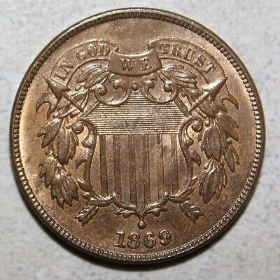 1869. 2 Cent Piece  **Free Shipping**