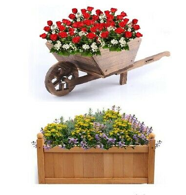 Wooden Garden Planters Wheel Barrow Rectangular Pots Flowers Baskets Outdoor Box