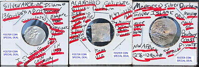 Three Islamic Empires Silver Coins From 1147 Ad-1800 Ad--Rare Steeply Discounted
