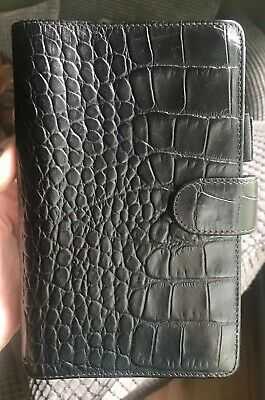 Like New - Filofax Classic Compact Personal - Ebony Croc Italian Calf Leather