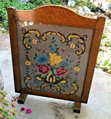 Antique English Oak Needlepoint Fireplace Fire Screen Floral HALLIDAY and TODD