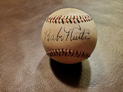 Babe Ruth Red and Black Stitched Autographed Baseball Reprint