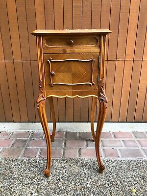 Antique French Side Cabinet Nightstands End Table Marble Top And Marble Box.