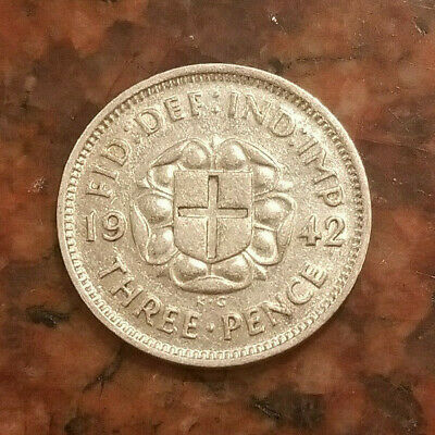 Ww2 Colonial Issue Only - 1942 Great Britain 3 Pence Coin - .500 Silver - #8408