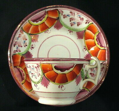 Hand Painted Pink Luster Cup and Saucer Circa 1820