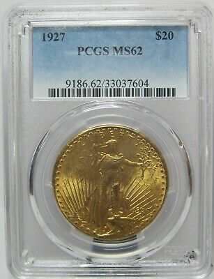 PCGS MS62 1927 St. Gaudens $ 20 Double Eagle Gold Coin Pre-1933 .