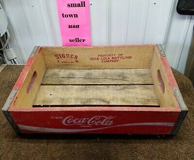 Vintage Coca Cola Coke Wood Case Carrying Crate Soda Pop Bottle Wooden red