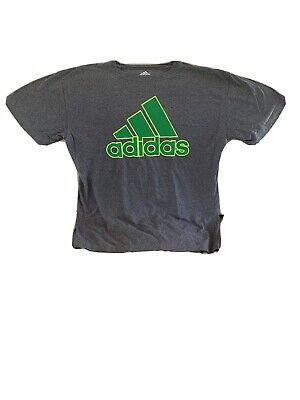Adidas T-shirt Mens Large Grey W Green Spell Out Short Sleeve
