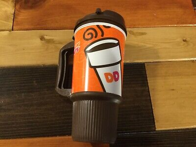 2011 Dunkin Donuts Travel Mug Cup 16 oz Brown Orange Grip Bottom Handle -Whirley