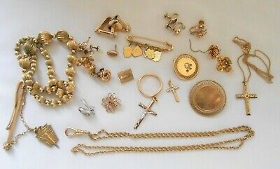 Vintage Gold Filled Scrap Jewelry Lot 77 Grams 1/10 1/20 10K 12K 14K Gold Filled