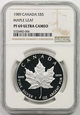 1989 Canada Maple Leaf Silver $5 Proof PF 69 Ultra Cameo NGC