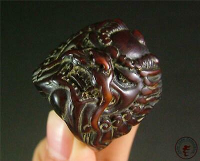 Antique Old Chinese Ox Horn Made Archer's Thumb Ring POWERFUL DRAGON ON SURFACE