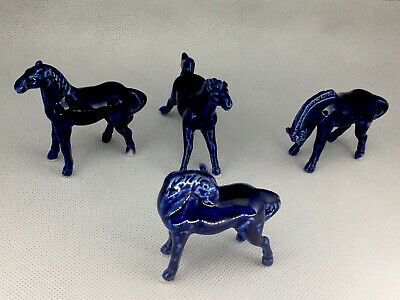 Blue Porcelain Horses, 1950s, Set of 4 Very RARE