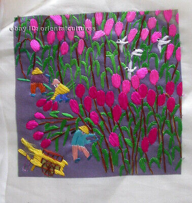 Chinese 100% hand embroidered silk suzhou embroidery art:farmer working 4.73inch