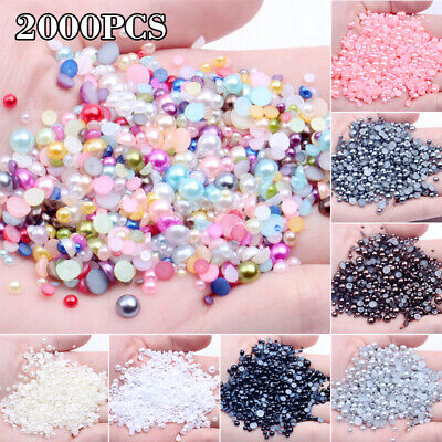 Mixed Flat Back Pearl for Rhinestones Embellishments Face Gem Card Making New