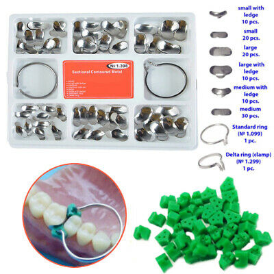 100pc Dental Sectional Contoured Matrices Matrix Ring & 40pcs Add-On Wedges Hot