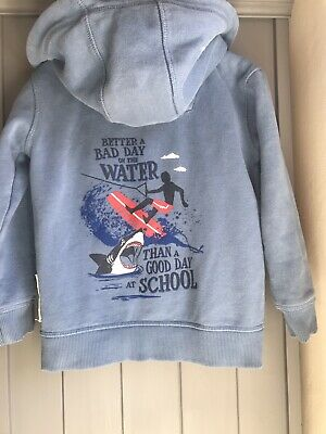 Fat Face Boys Surf Blue Zip Up Hoodie Age 4-5 Years