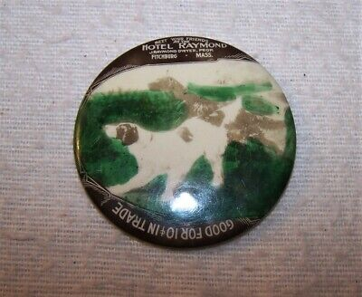 Nice Antique Pocket Mirror - Hotel Raymond, Fitchburg, Mass. - Good for 10 Cents