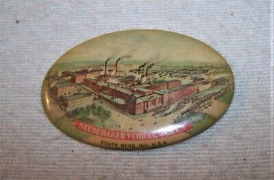 Fine Antique Pocket Mirror - Studebaker Vehicle Works, South Bend, Indiana