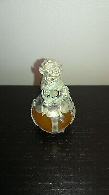 Collectable Handwork Miao Silver Carve Lion Dragon Inlay Agate One Statue a