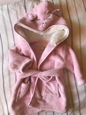 Monsoon Baby Girls Pink Cat Dressing Gown 3-6 Months
