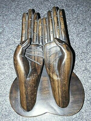 Vintage Hand carved Hands Wooden Statue Asian Oriental Gift