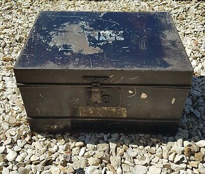 Large Vintage Metal Deed Box Storage Tin Chest. Circa 1940s