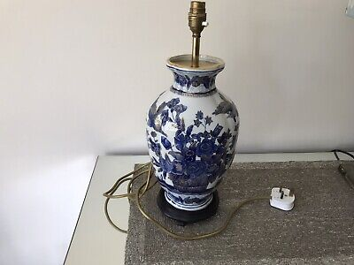 Beautiful Porcelain Hand Painted Blue And White And Gold Lamp Base