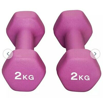 Opti Neoprene Dumbbell Weight Set - 2 x 2kg 4KG Total HOME WORKOUT *BRAND NEW*