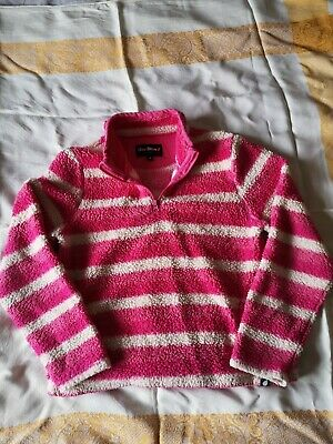 Age 13, Girls Pink & White Striped Fleece Jumper, by Peter Storm.