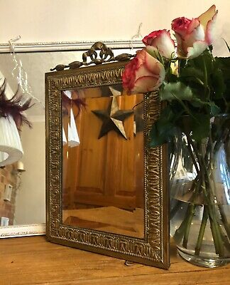 Antique Rectangular Bevelled Ornate Wall Mirror Gold Brass Frame Excellent