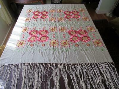 """Antique Chinese hand embroidered silk piano shawl 49X49"""" fringe 16"""" green floral"""