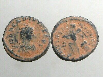 EMPEROR ARCADIUS BRONZE AE4_____Ancient Rome_____VICTORY PULLING HAIR OF CAPTIVE