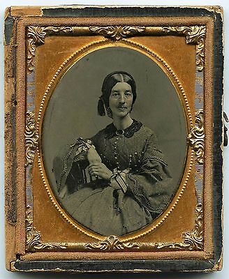 Ninth Plate Ambrotype Photo Portrait Of A Young Woman