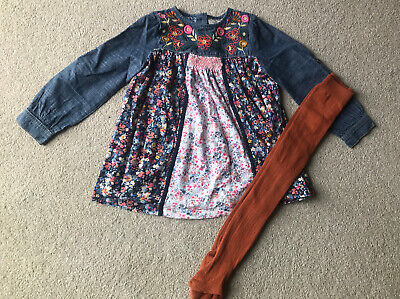 Next Girls Dress And Tights Set Age 3-4