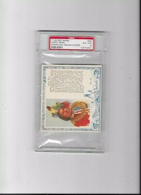 1954 Redman Tobacco T129 Indian Chiefs Card Hairy Bear #29 Psa Graded 6 Ex- Nm