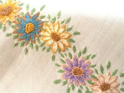 Vintage Antique White Linen Table Centre Table Cloth Doilie Hand Embroidered wit