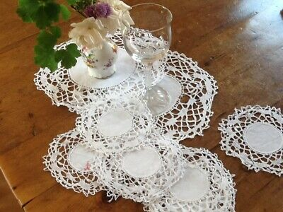 Antique set of 17  White Linen and Lace Table mats & Doilies Drink Coasters Mats