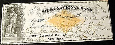 First National Bank of Cooperstown NY 1878 Cancelled