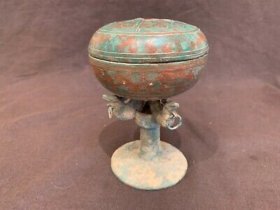 """Ancient Han Antique Chinese silver gold copper inlaid bronze ritual vessel 5.25"""""""