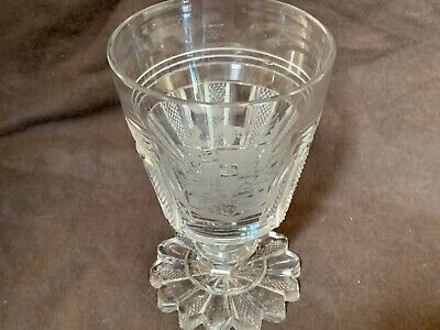 """Antique 18thC bohemian engraved  wine glass 6"""" INCREDIBLE armorial FINEST QUALTY"""