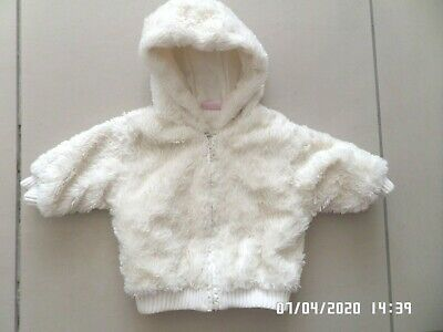 Cherokee Baby Girls Cream Faux Fur Hooded Jacket Coat 6-9 Months Good Condition