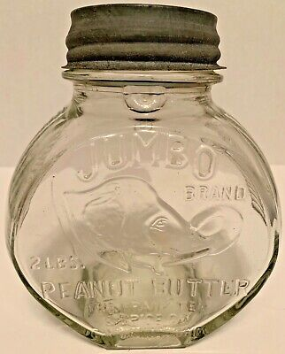 Vintage Peanut Butter Jumbo Brand Two Pound Glass Jar Frank Tea & Spice Co.