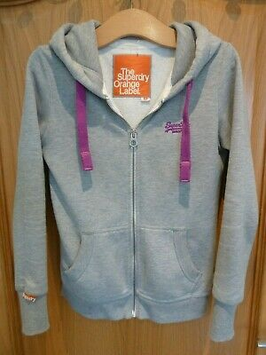 Superdry Orange Label Hooded Top Size Small Grey With Purple Trim Hoodie