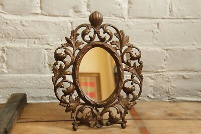 Antique Cast Iron Warner Victorian Rococo Ornate Oval Mirror Or Picture Frame