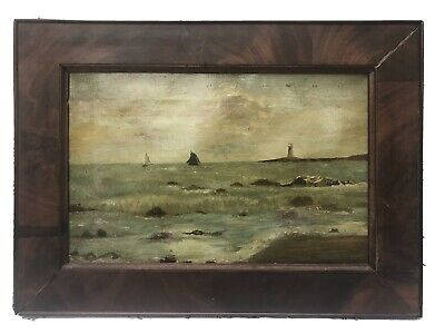 Antique Primitive Oil on Canvas Painting Fire Island Lighthouse, Long Island Bay