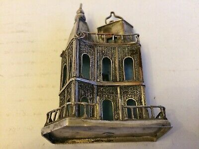 Antique Silver Plated Filigree Work Miniature Church Statue