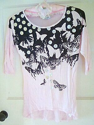 Girls Pale Pink Black Batwing Style Top Butterflies TAMMY Age 12-13 Years USED