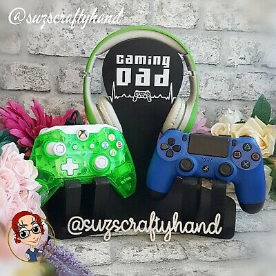 Double Personalised Gaming Headset & Controller Stand, Xbox/PlayStation, Gamer