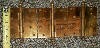 "3 Vintage Heavy 4 1/2"" Brass Plated Door Hinges - Unused - Nos"